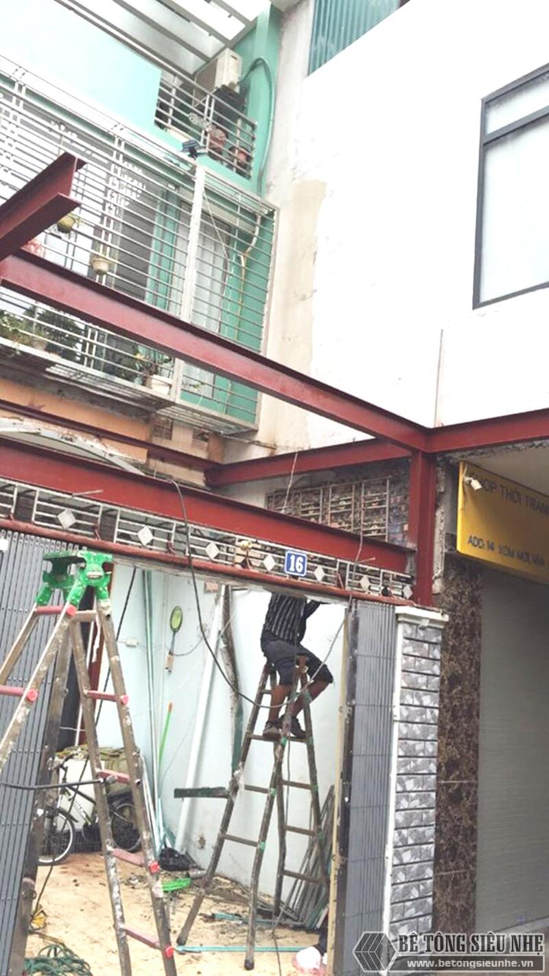 Thi công khung thép tiền chế, sàn bê tông nhẹ cải tạo, cơi nới gara ô tô nhà anh Tiến, Thanh Trì, Hà Nội - 02