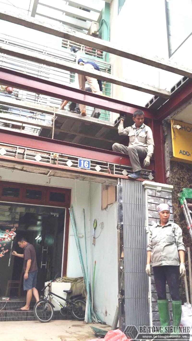 Thi công khung thép tiền chế, sàn bê tông nhẹ cải tạo, cơi nới gara ô tô nhà anh Tiến, Thanh Trì, Hà Nội - 03