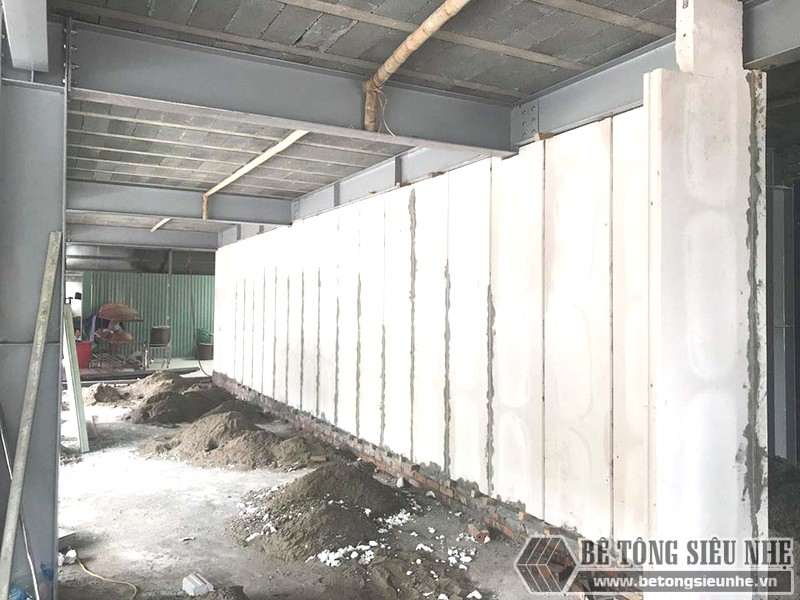 Công trình xây tường bằng tấm tường bê tông nhẹ Acotec