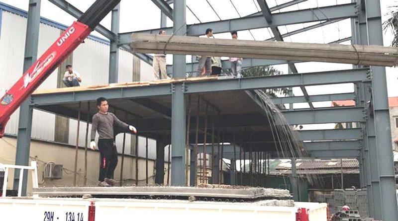 Thi công, lắp dựng khung thép tiền chế xây nhà xưởng