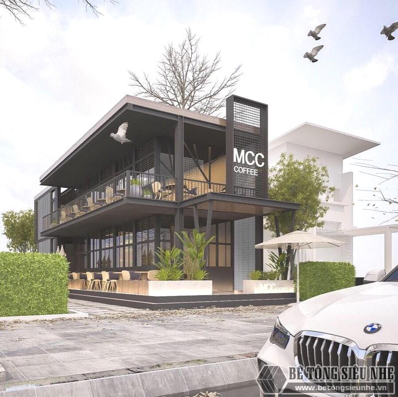 Thiết kế, phối cảnh 3D làm quán cafe bằng khung thép tiền chế