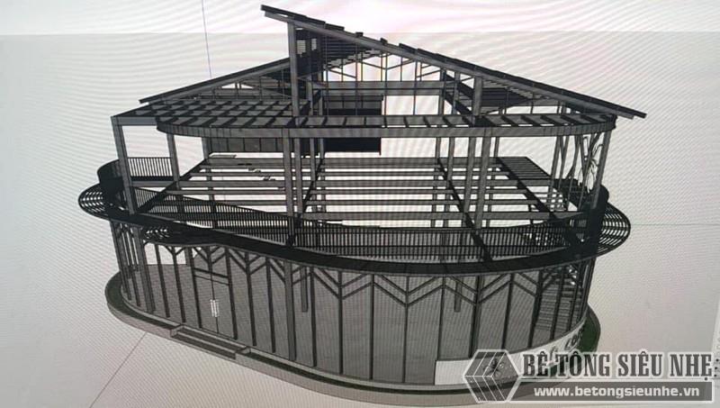 Bản vẽ nhà khung thép 2 tầng về cơ bản thể hiện rõ các thiết kế không gian