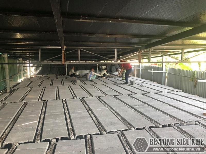 """Thi công sàn bê tông nhẹ """"hỏa tốc"""" cho nhà xưởng công ty vận tải tại Nguyễn Khoái - Thanh Trì - Hà Nội"""