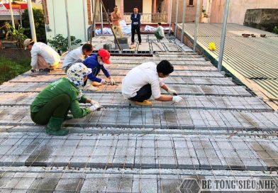 Thi công nhà khung thép và sàn bê tông nhẹ tại cầu Nhật Tân – Đông Anh cho nhà chú Tư