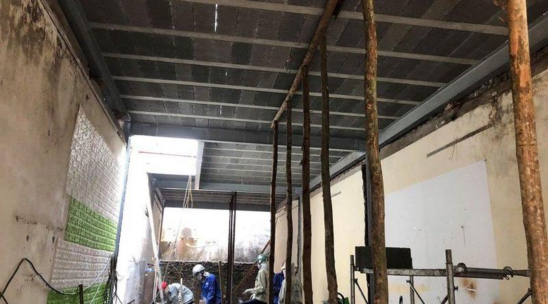 Bê Tông Siêu Nhẹ nâng cấp 80m2 nhà cũ bằng khung thép và sàn bê tông nhẹ tại Tây Hồ cho nhà anh Cơ