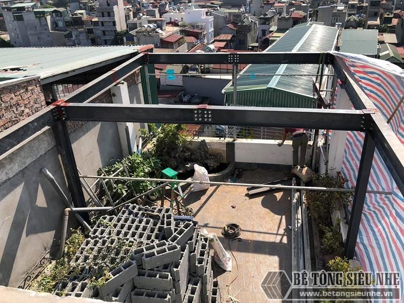 Bê Tông Siêu Nhẹ nâng cấp nhà phố bằng hệ khung thép và sàn bê tông nhẹ ở Trần Đại Nghĩa, Hai Bà Trưng cho nhà chú Phái