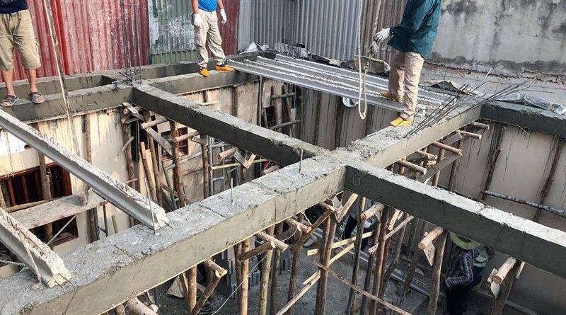 Thi công sàn bê tông nhẹ tại Tây Hồ, ngõ 310 Nghi Tàm cho nhà anh Tiêu