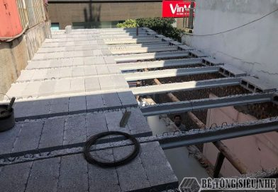 Làm sàn bê tông lắp ghép thay thế trần bê tông truyền thống tại Hoàng Mai, Hà Nội cho nhà anh Cẩm