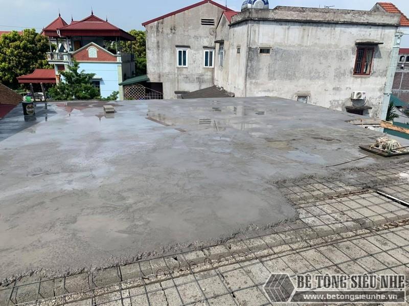 Hình ảnh công đoạn cuối - đổ bê tông tươi cho công trình thi công sàn bê tông nhẹ