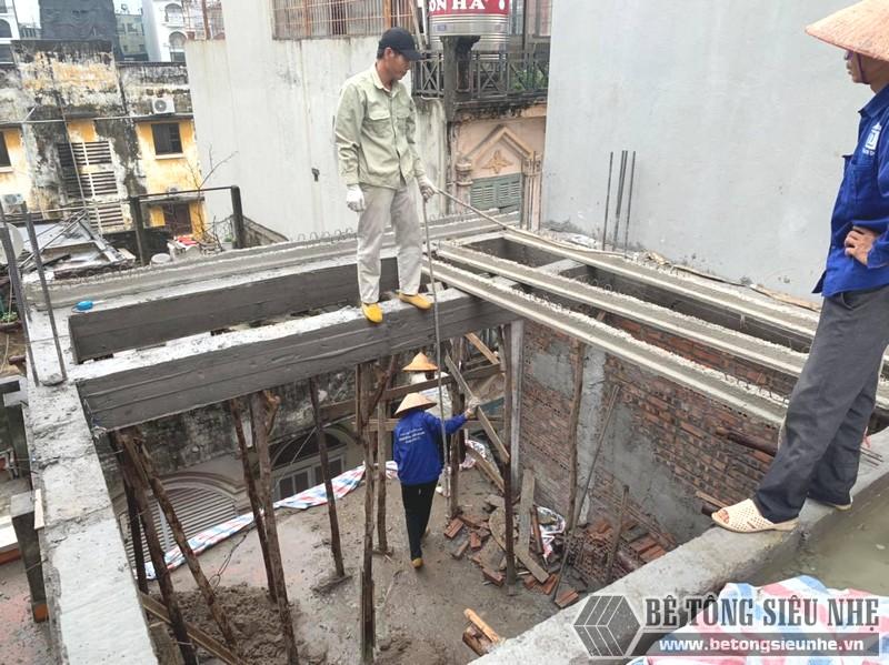 Thi công sàn bê tông nhẹ Xuân Mai tại Cầu giấy, Hà Nội nhà anh Bắc - 02