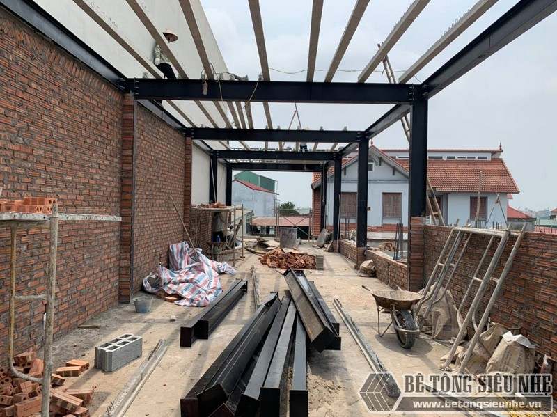 Hình ảnh công trình nhà khung thép tiền chế, sàn bê tông nhẹ tại Thường Tín, Hà Nội
