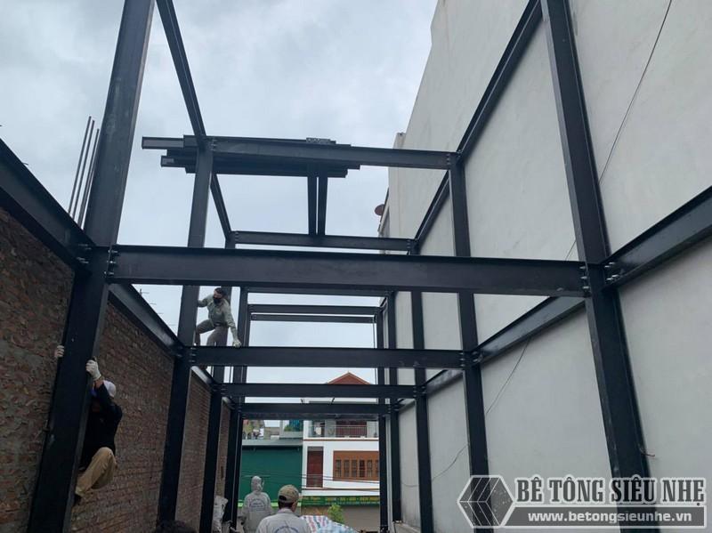 Nhà khung thép được lắp ghép từ các cấu kiện gia công sẵn