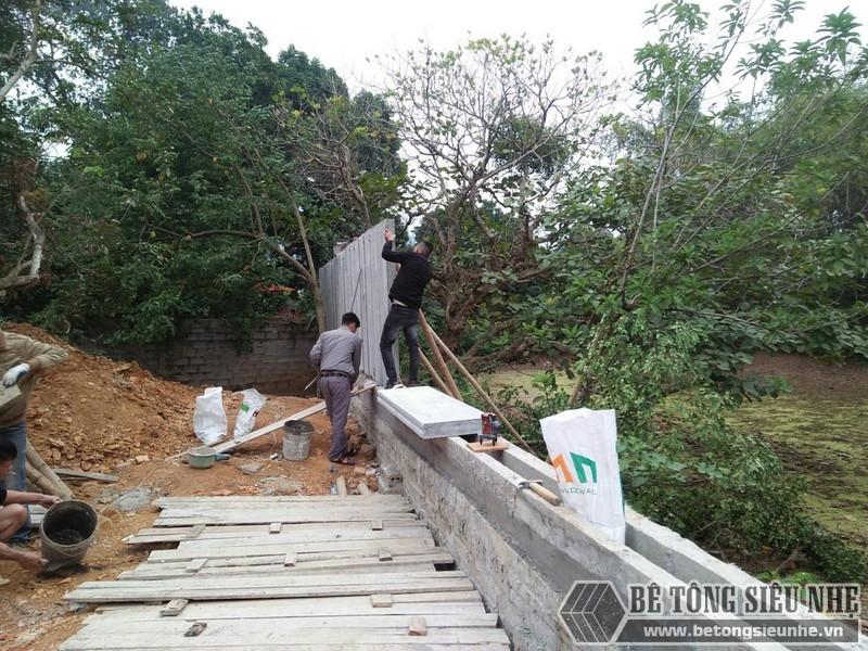 Lắp ghép tường rào bằng tấm bê tông nhẹ EPS
